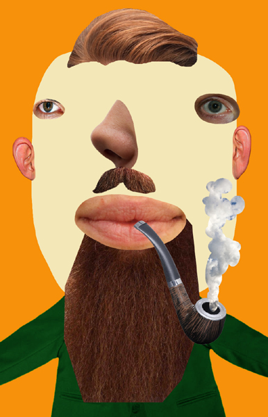 2015 gezicht baard pijp montage beeld GUSTAVE PETIT