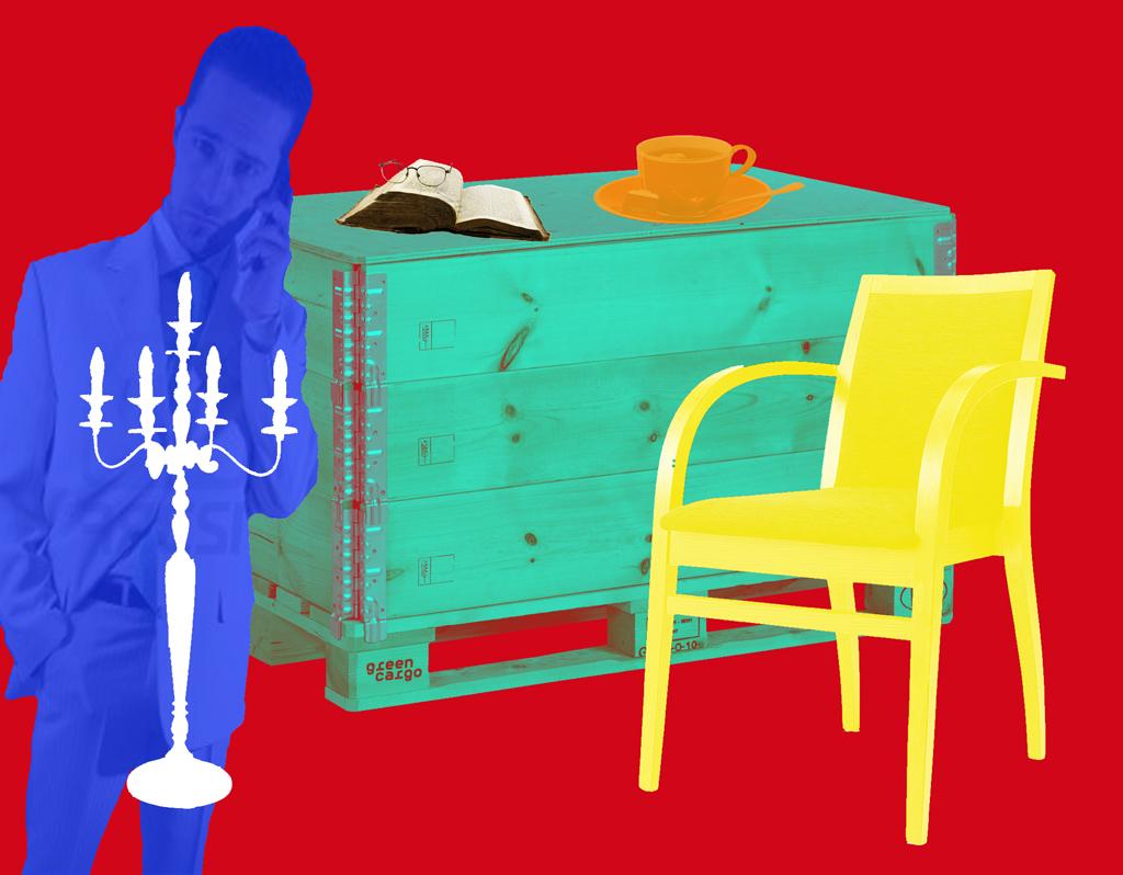 2012 - kist lamp stoel bellende man BEELD GUSTAVE PETIT