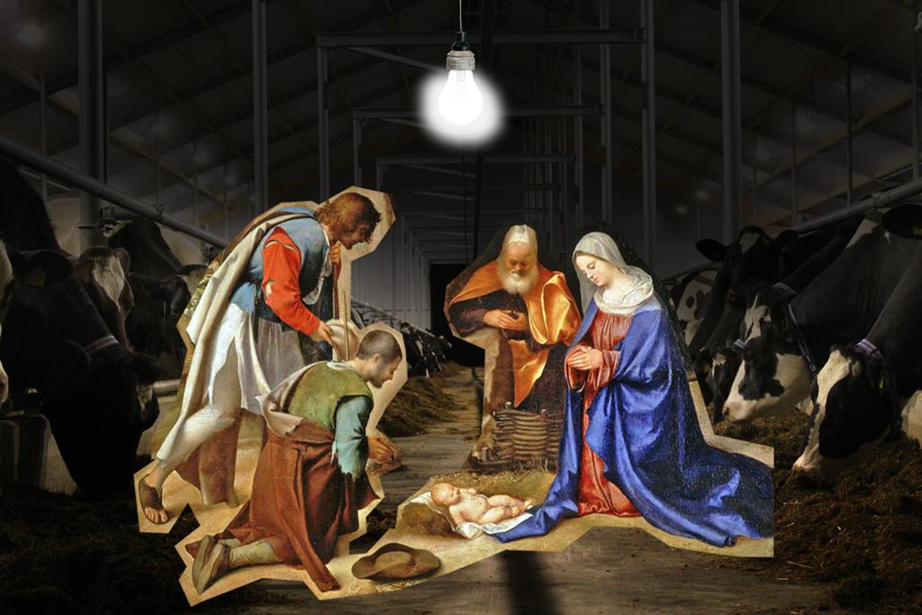 2012 - Kerst Jezus moderne stal BEELD GUSTAVE PETIT